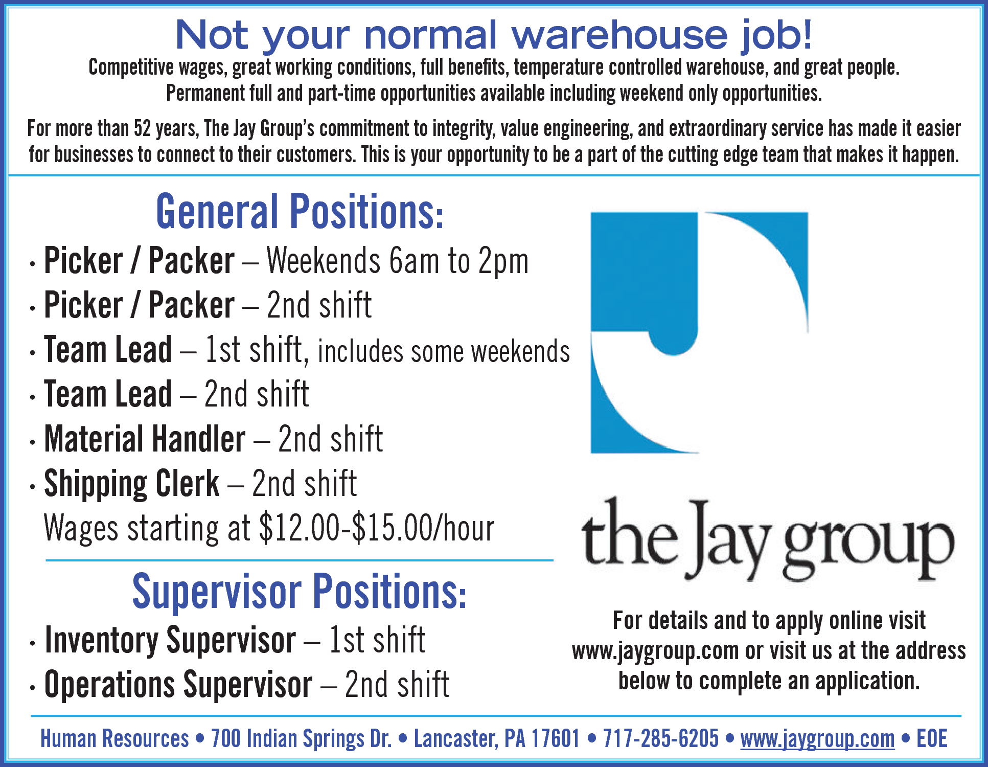 Warehouse Positions Job In Lancaster PA